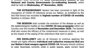 Kenyan President convenes extraordinary summit as COVID-19 cases ascend